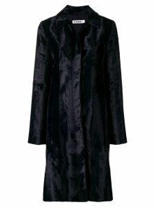 Jil Sander faux fur mid length coat - Blue