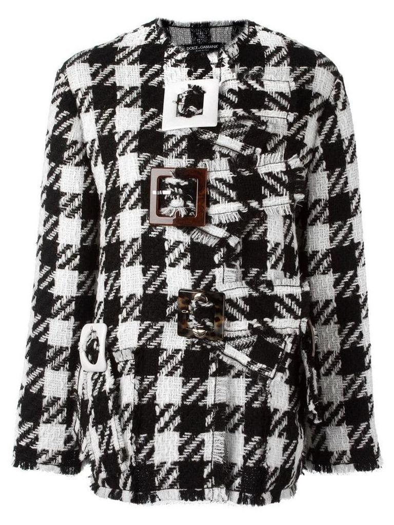 Dolce & Gabbana checked boxy coat - Black