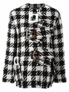 Dolce & Gabbana checked boxy coat - Black
