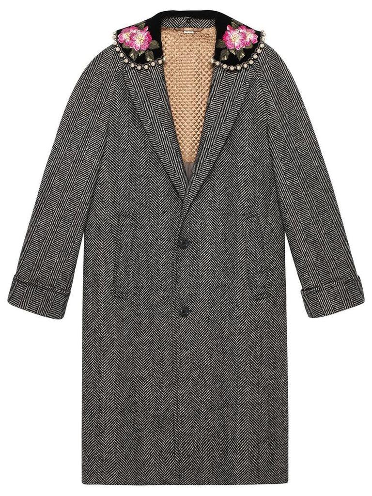 Gucci Herringbone coat with embroidery - Grey