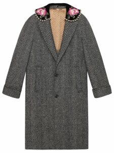 Gucci Herringbone coat with embroidery - Grey