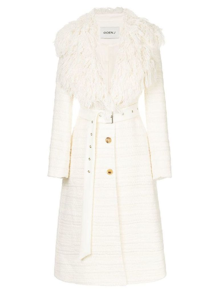 Goen.J A-line chunky texture woven notched lapel coat - White