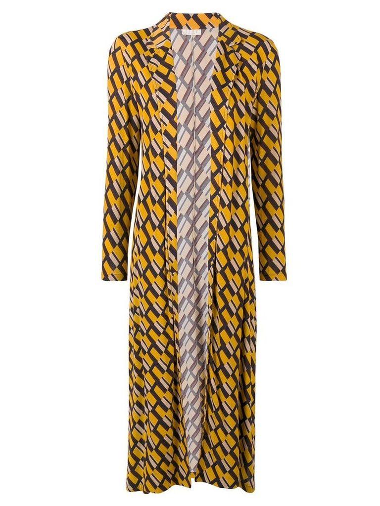 Siyu geometric print duster coat - Yellow