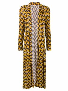 Siyu geometric print duster coat - Yellow