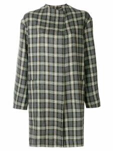 Antonio Marras collarless plaid coat - Grey