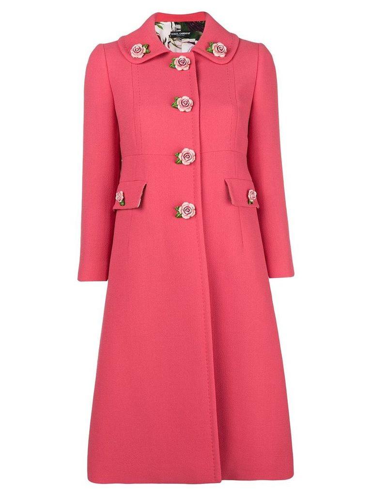 Dolce & Gabbana floral appliqué tailored coat - Pink
