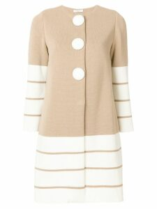 Charlott striped knit coat - Neutrals