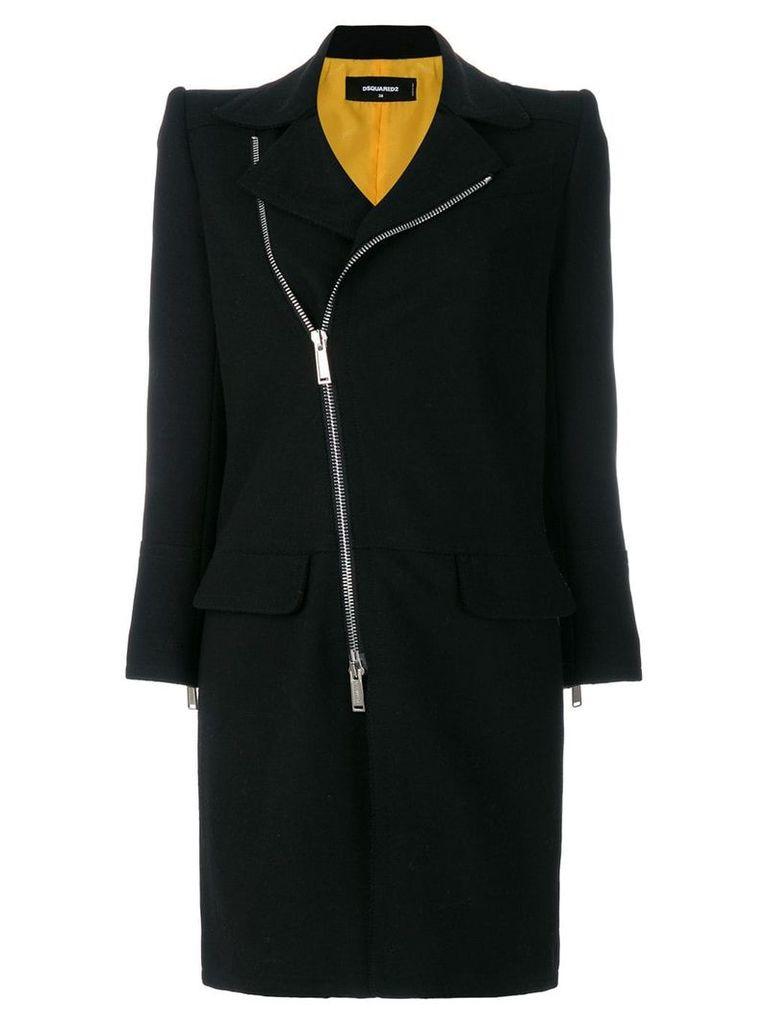 Dsquared2 asymmetric zip front coat - Black