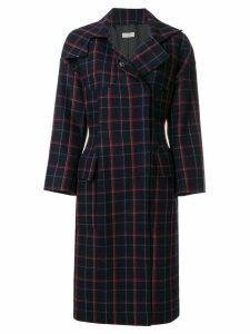 Alberto Biani plaid concealed button coat - Blue