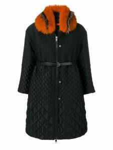 Ermanno Scervino appliqué collar coat - Black