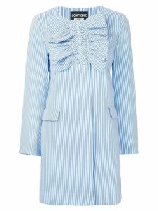 Boutique Moschino ruched striped coat - Blue
