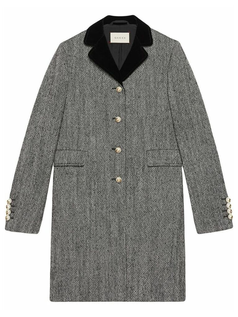 Gucci Single-breasted wool coat - Grey