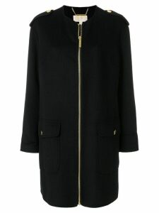 Michael Michael Kors collarless zip-up coat - Black