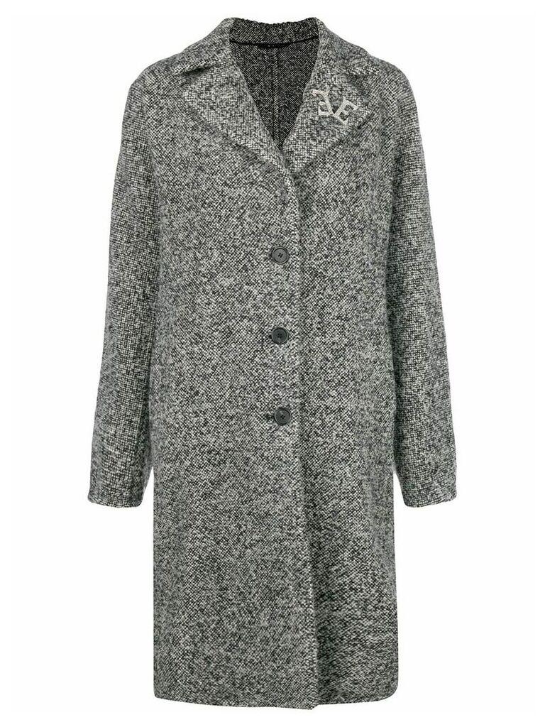 Ermanno Scervino marbled single breasted coat - Black