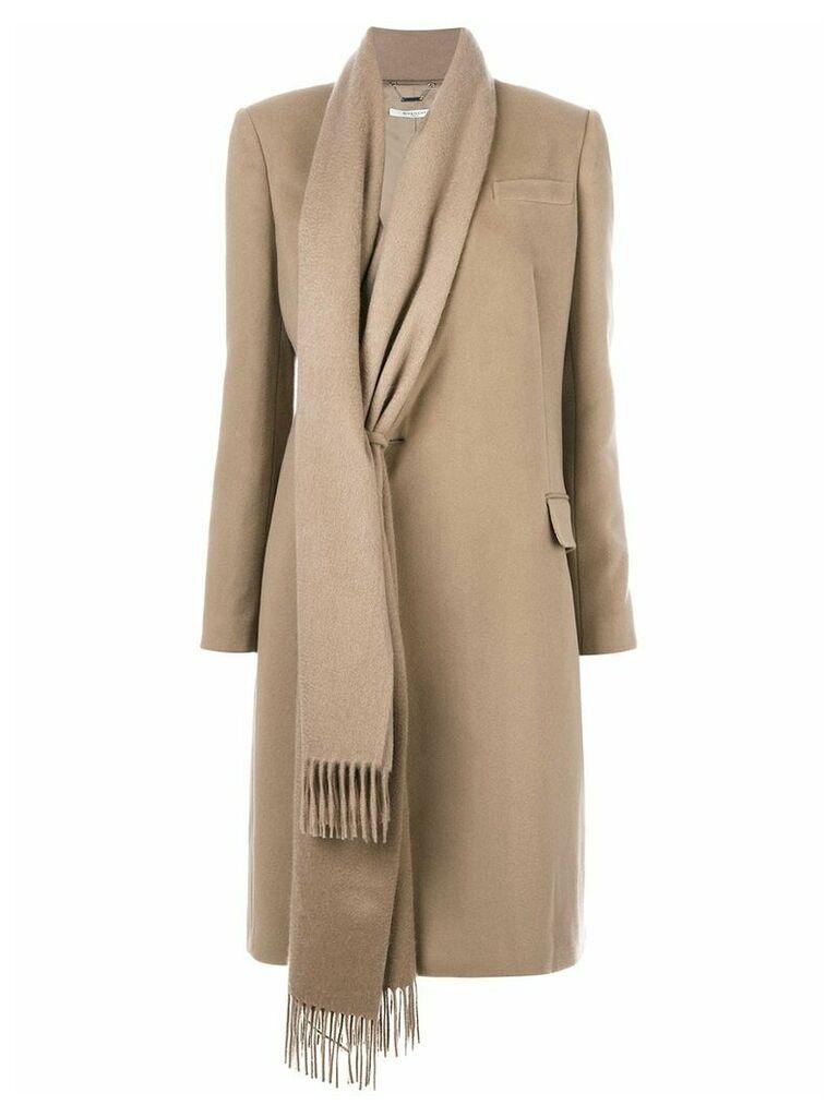 Givenchy asymmetric scarf trim coat - Neutrals