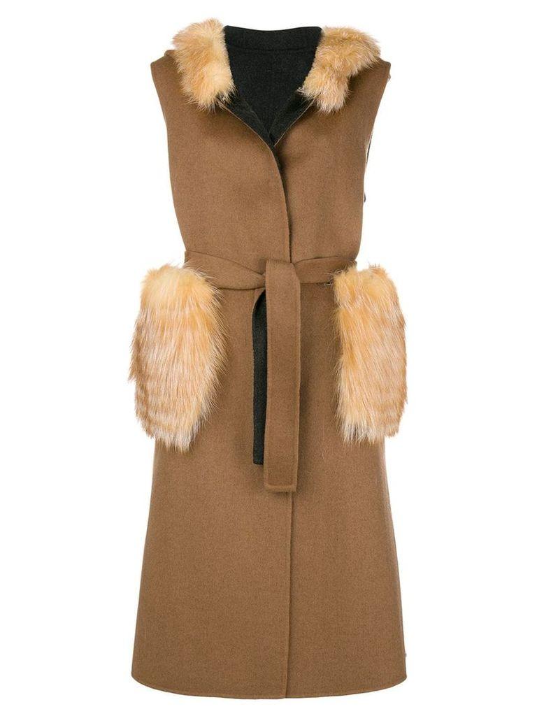 Liska fur details sleeveless coat - Neutrals