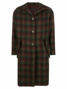 Miaoran tartan single-breasted coat - Brown