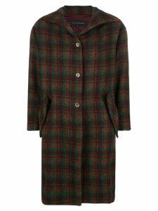 Miaoran tartan single-breasted coat - Brown