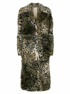 Stella McCartney leopard print faux-fur coat - Brown
