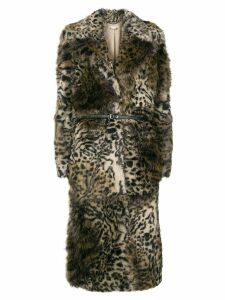 Stella McCartney leopard print faux-fur coat - Brown