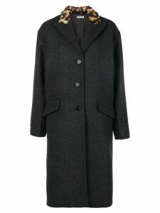 Miu Miu faux fur collar coat - Grey