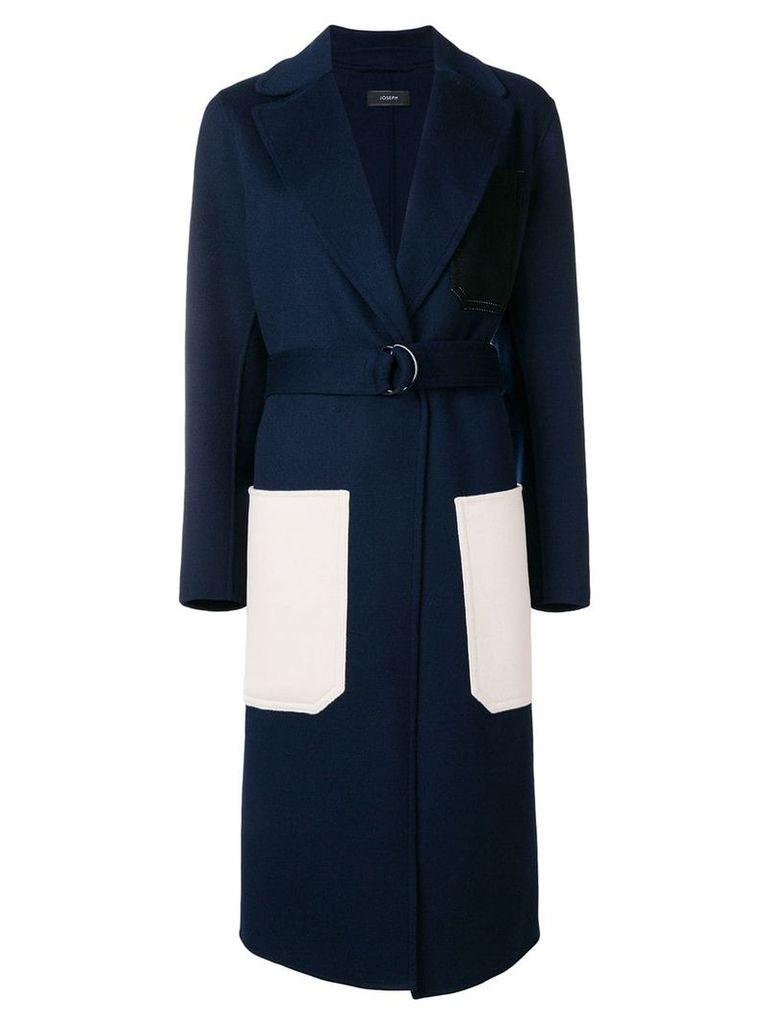 Joseph long contrast pocket coat - Blue