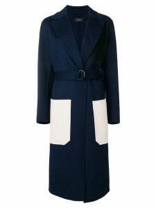 Joseph long contrast pocket coat - Blue
