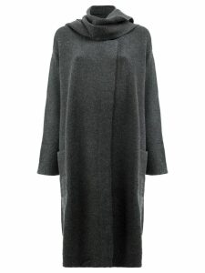 Le Kasha knitted coat with scarf neck detail - Grey