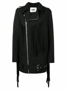 MSGM fringed coat - Black