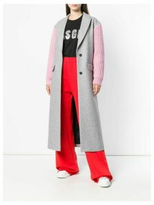 MSGM contrasting belted coat - Grey