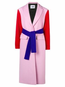 MSGM contrasting belted coat - Pink