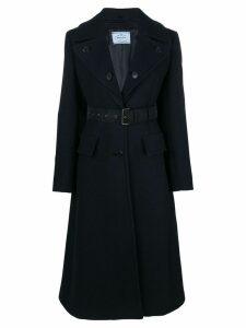 Prada long-sleeve belted coat - Blue