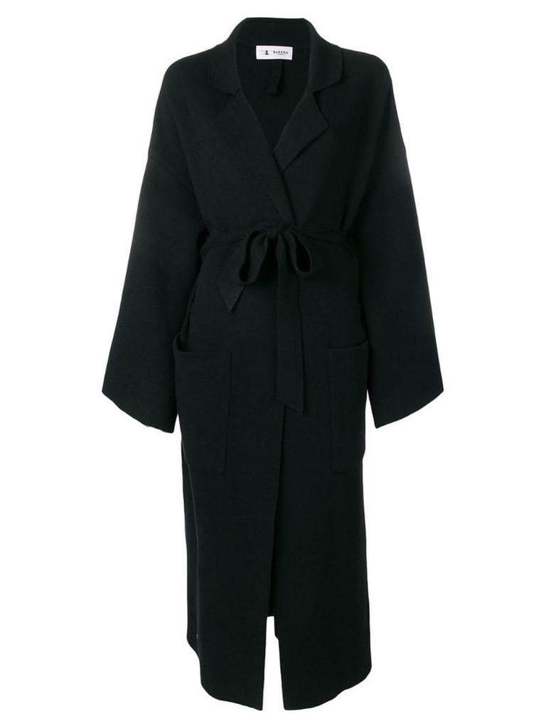 Barena belted side slit coat - Black