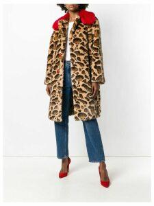 Dolce & Gabbana contrast-collar leopard-print coat - Brown