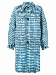 Faustine Steinmetz logo printed denim overcoat - Blue