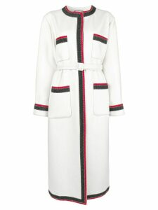 Gucci contrast trim midi coat - White
