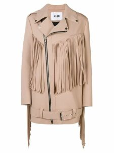 MSGM fringed coat - Neutrals