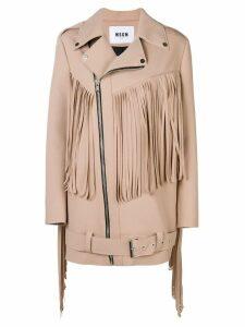 MSGM fringed coat - NEUTRALS