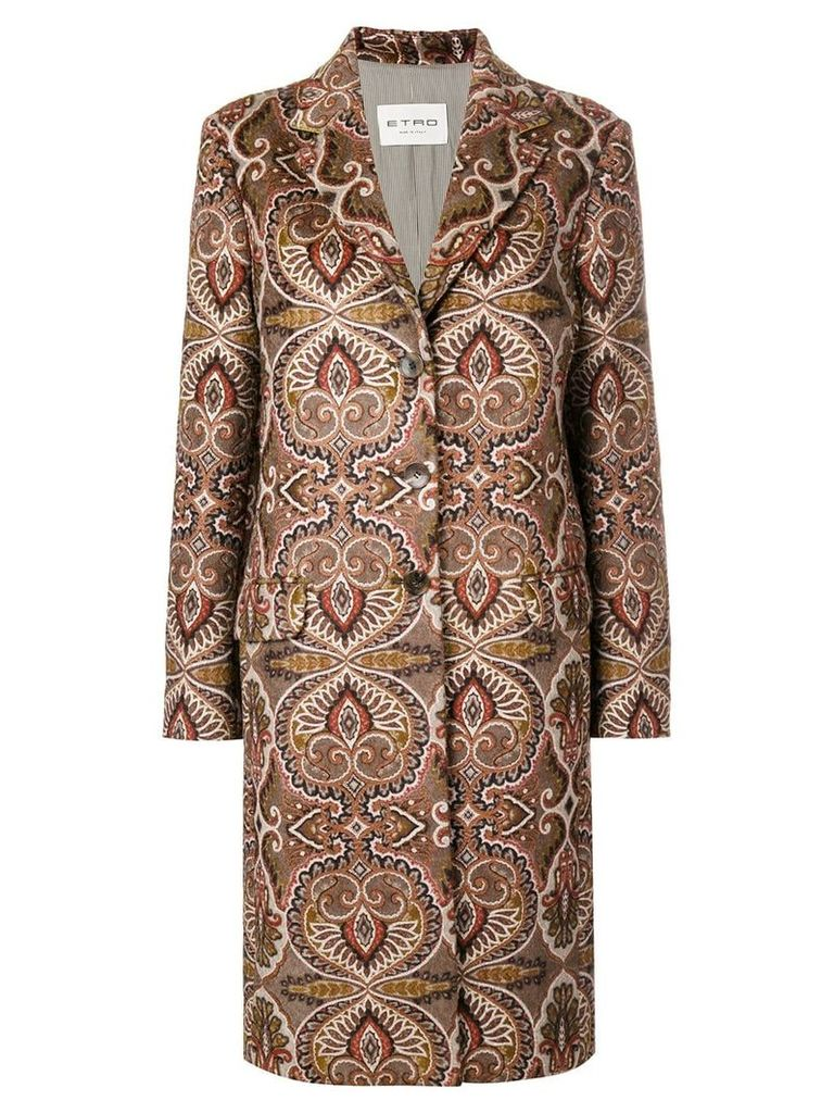 Etro patterned cocoon coat - Neutrals