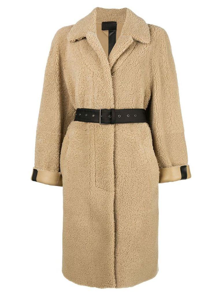 Prada belted coat - Neutrals