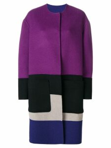 Bottega Veneta reversible colour block coat - Purple