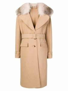 Ermanno Scervino belted fur collar coat - Neutrals