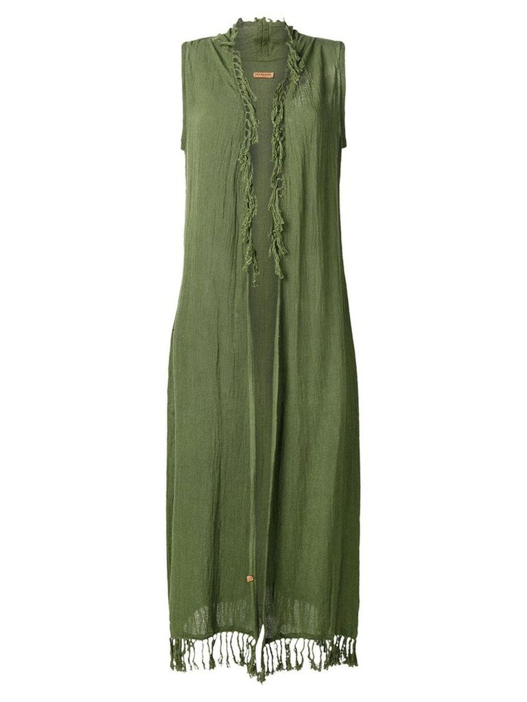 Caravana sleeveless open long vest - Green