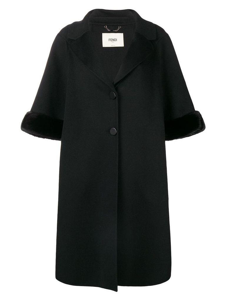 Fendi cropped sleeve fur cuff coat - Black
