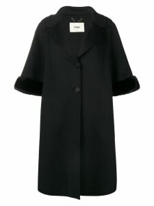 Fendi cropped sleeve fur cuff coat - Black