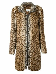 Maison Margiela contrast print coat - Brown