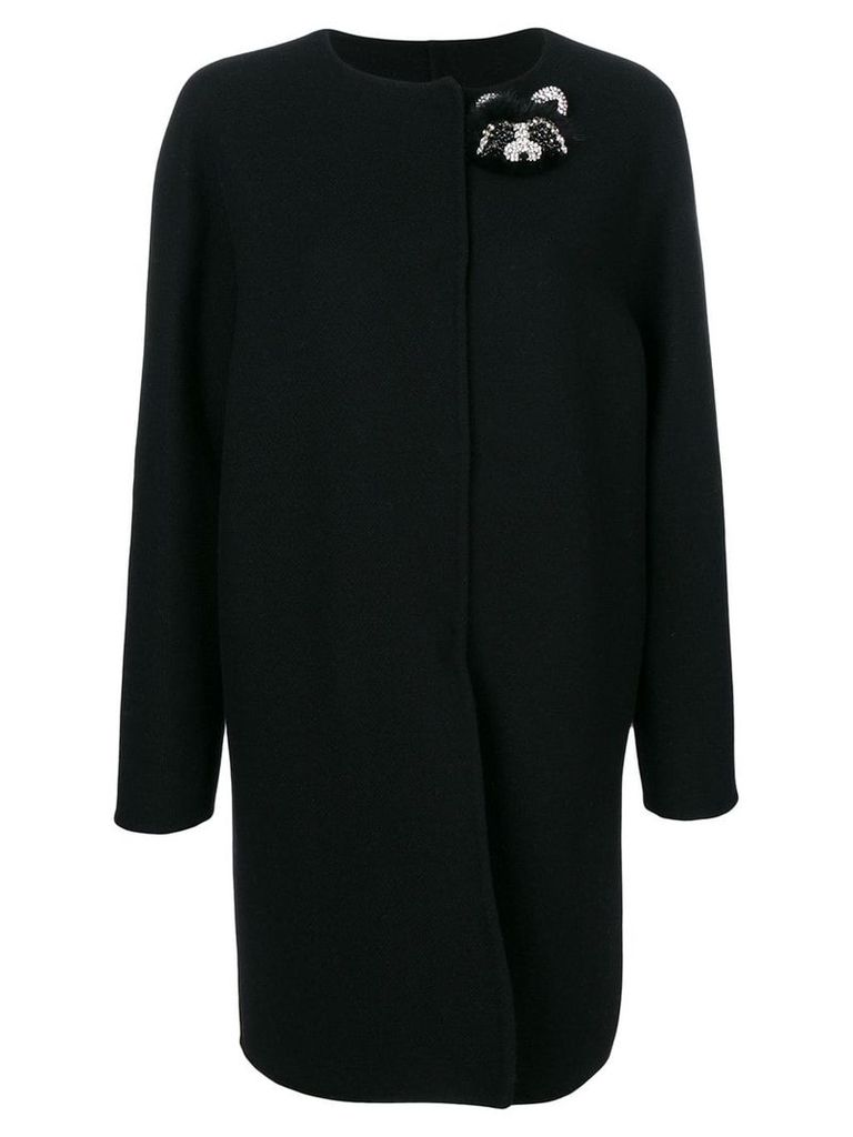 Ermanno Scervino jewelled bear coat - Black
