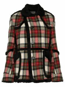 R13 oversized check shearling wool coat - Multicolour