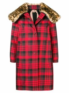 Nº21 leopard print collar check coat - Red