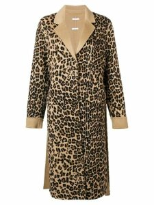 P.A.R.O.S.H. leopard single breasted coat - Brown